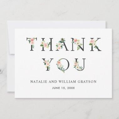 Elegant Blush Floral Letters Thank You Invitations