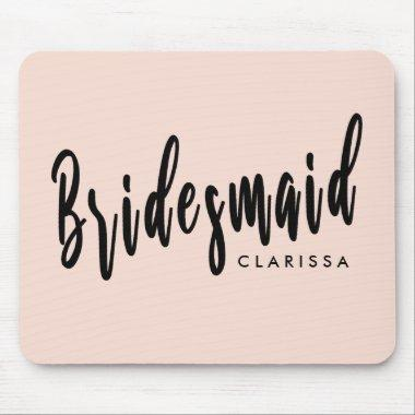Elegant blush pink & black bridesmaid mouse pad