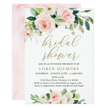 Elegant Blush Watercolor Floral Bridal Shower Invitations