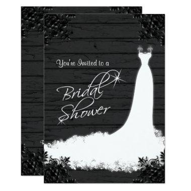 Elegant Bridal Gown on Rustic Black Wood