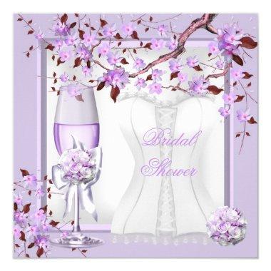Elegant Bridal Shower Lavender Purple Lilac 4b Invitations