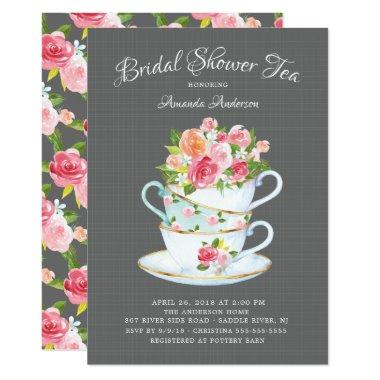 Elegant Bridal Shower Tea Invitations