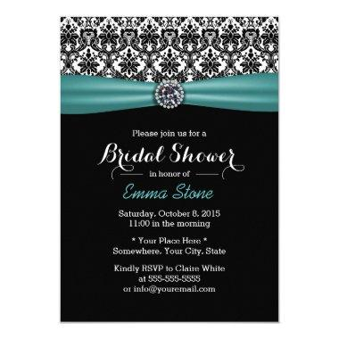 Elegant  Teal Ribbon Damask Diamond
