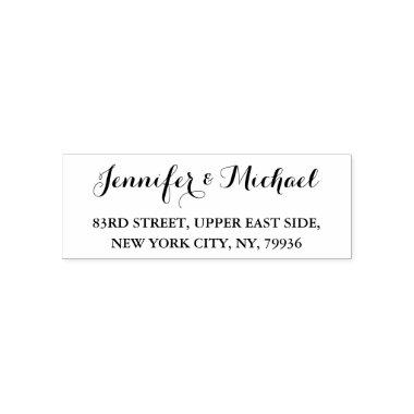 Elegant Bride Groom Wedding Couple Return Address Self-inking Stamp