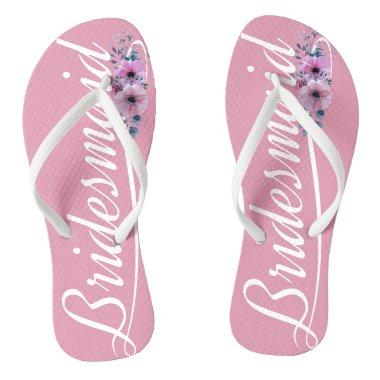 Elegant Bridesmaid Wedding Calligraphy Flip Flops