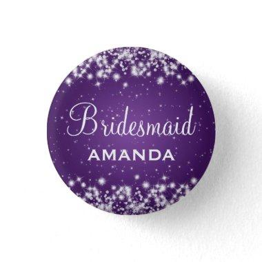 Elegant Bridesmaid Winter Sparkle Purple Pinback Button