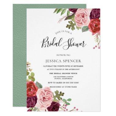 Elegant Burgundy Blush Mint  Invite
