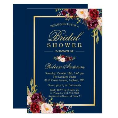 Elegant Burgundy Floral Navy Blue Bridal Shower Invitations