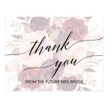 Elegant Calligraphy | Faded Floral Thank You Post