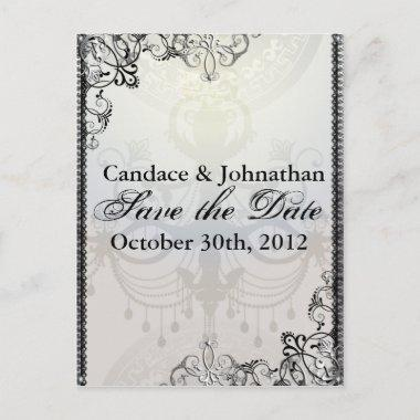 Elegant Chandelier & Flourishes Save the Date Announcement PostInvitations