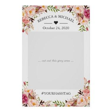 Elegant Chic Blush Pink Floral Wedding Photo Prop Poster