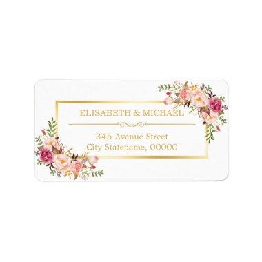 Elegant Chic Gold and White Beautiful Floral Decor Label