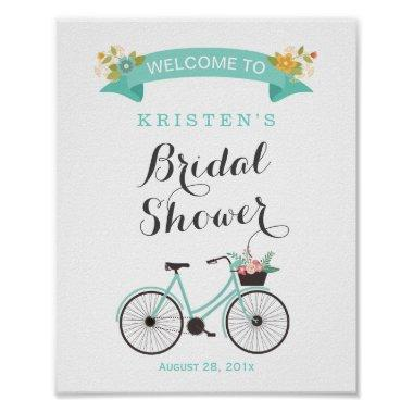 Elegant Chic Mint Green Bicycle  Sign