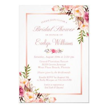 Elegant Chic Rose Gold Floral Bridal Shower Invitations