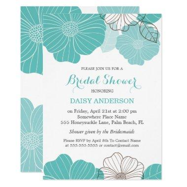 Elegant Chic Turquoise Green Floral