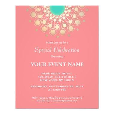 Elegant Coral Pink and Gold Circle Motif Flyer