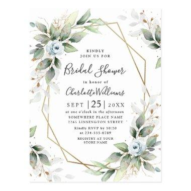 Elegant Dusty Blue Foliage Bridal Shower Invitations