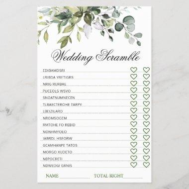 Elegant Eucalyptus Bridal Shower Scramble Game