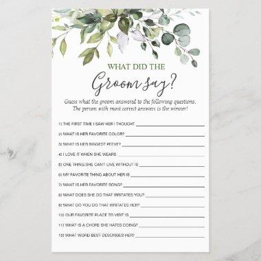 Elegant Eucalyptus Greenery Bridal Shower Game