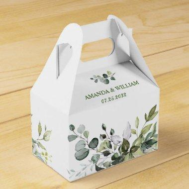 Elegant Eucalyptus Watercolor Greenery Wedding Favor Box