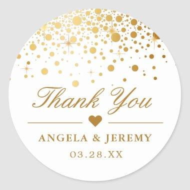 Elegant Faux Gold Foil Confetti Wedding Thank You Classic Round Sticker