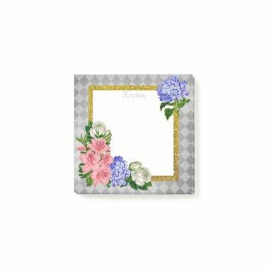 Elegant Floral Frame on Geometrical Background Post-it Notes
