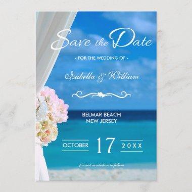 Elegant Floral Ocean Beach Save the Date