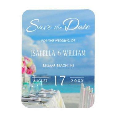 Elegant Floral Ocean Beach Summer Save the Date Magnet