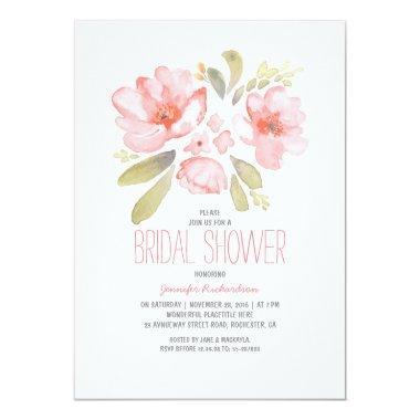Elegant Floral Watercolor Bridal Shower Invitations