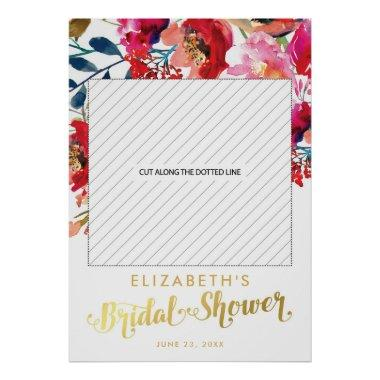 Elegant Floral White Gold  Photo Prop Poster