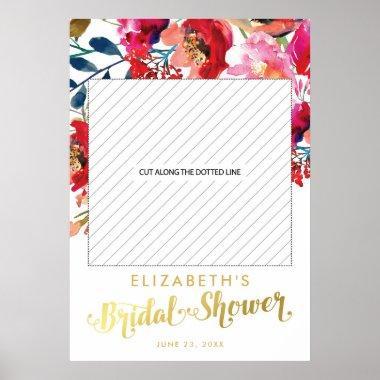 Elegant Floral White Gold  Photo Prop Poster