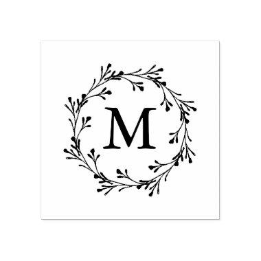 Elegant Floral Wreath Monogram Rubber Stamp