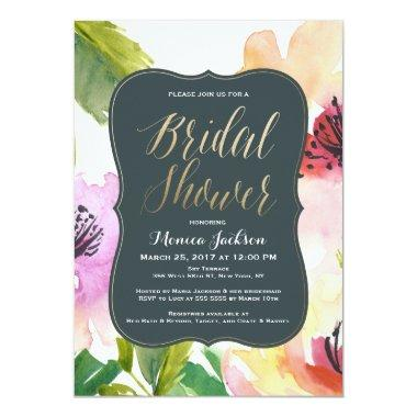 Elegant Flowers | Bridal Shower Invitations