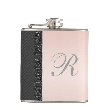 Elegant gentle stripes lace wedding monogram hip flask