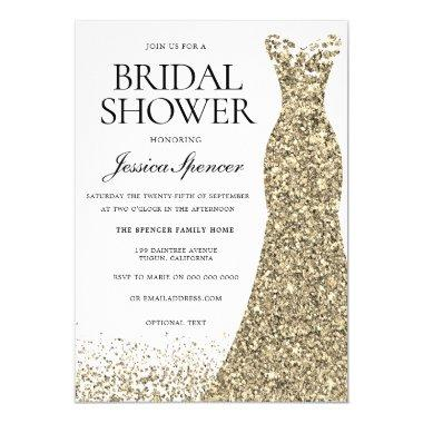 Elegant Glitter Gold Dress Bridal Shower Invite