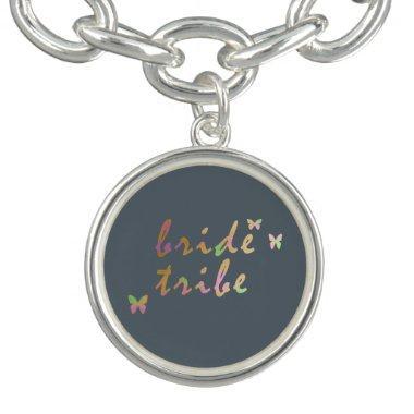 elegant gold and rose gold foil Bride Tribe Charm Bracelets