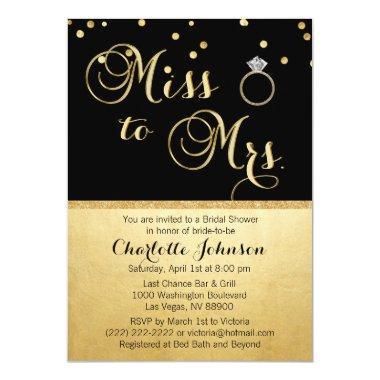 Elegant Gold Black Miss to Mrs.
