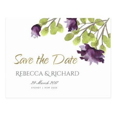 ELEGANT GOLD BLUE WATERCOLOUR FLORAL SAVE THE DATE POST