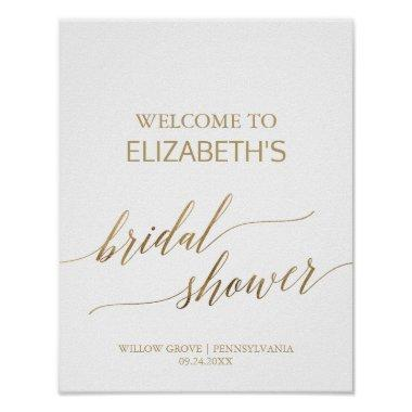 Elegant Gold Calligraphy Bridal Shower Welcome Poster