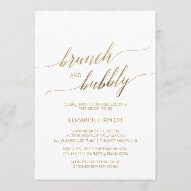 Elegant Gold Calligraphy Brunch & Bubbly Invitations