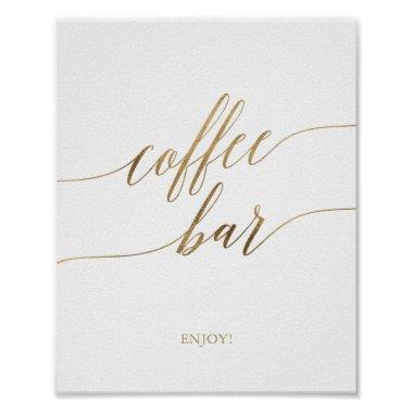 Elegant Gold Calligraphy Coffee Bar Sign