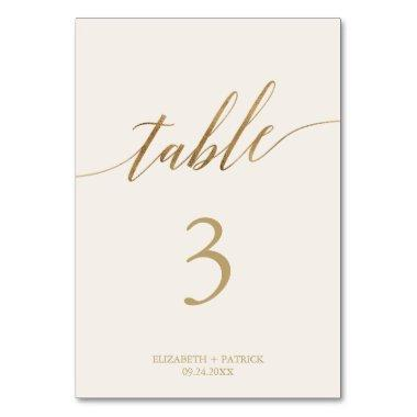 Elegant Gold Calligraphy Cream Table Number