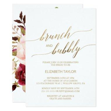 Elegant Gold Calligraphy | Floral Brunch & Bubbly Invitations