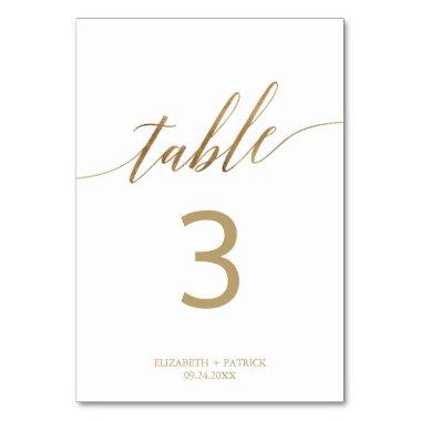 Elegant Gold Calligraphy Table Number