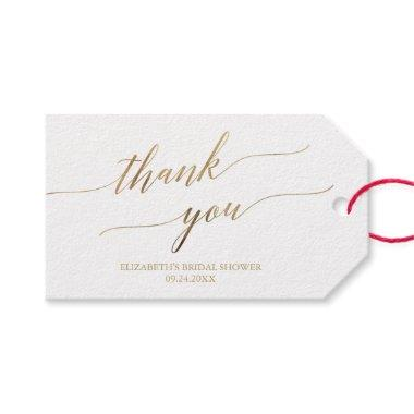 Elegant Gold Calligraphy Thank You Favor Gift Tags