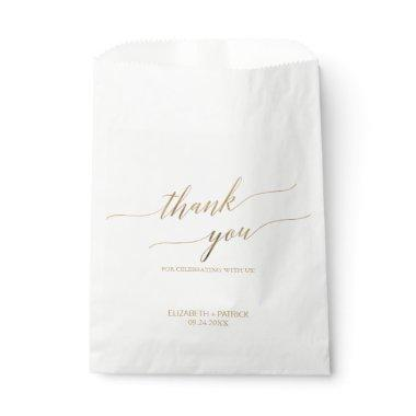 Elegant Gold Calligraphy Thank You Wedding Favor Bag