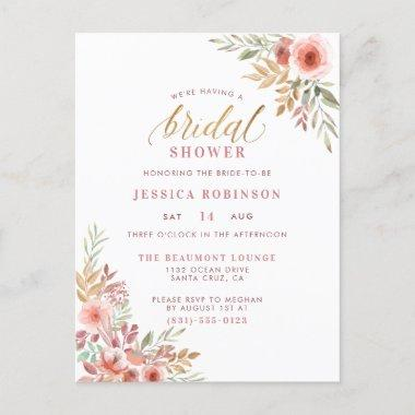 Elegant Gold Glitter Script Floral Bridal Shower Invitation PostInvitations