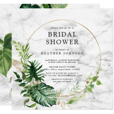 Elegant Gold Marble Tropical Wreath Square Shower Invitations