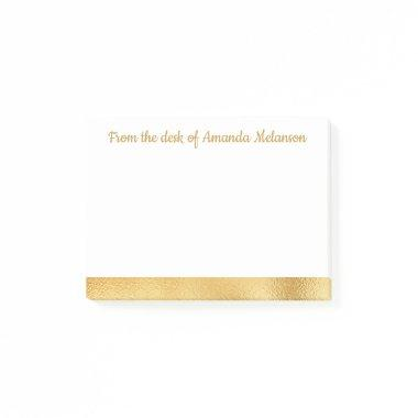 Elegant Gold Stripe Personalized Sticky Note Glam