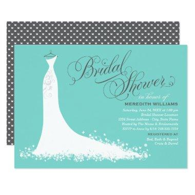 Elegant Gown | Aqua Blue and Gray Bridal Shower Invitations